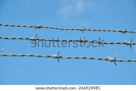 The barbed wire on sky background - stock photo