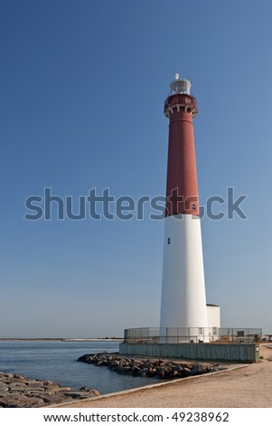 The Barnegat Lighthouse, as seen from the southwest - stock photo