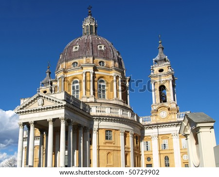 The baroque Basilica di Superga church on the Turin hill, Italy