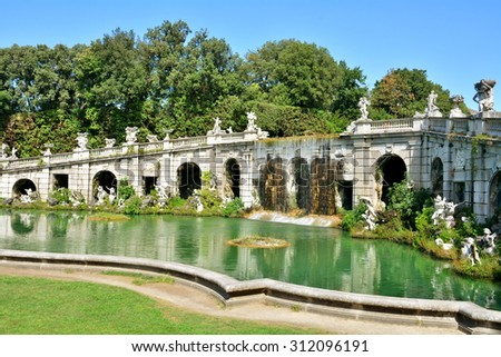 The baroque fountain in the royal palace of Caserta, Italy. - stock photo
