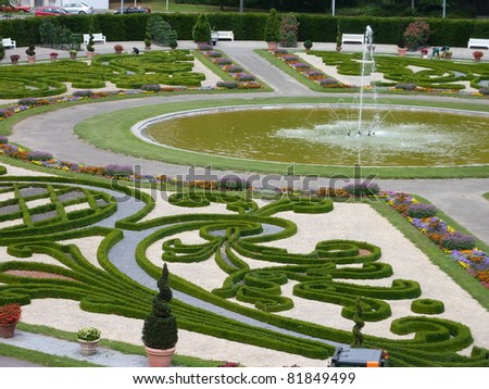 The baroque gardens of Ludwigsburg castle in Baden Wuertemberg in Germany during the summer
