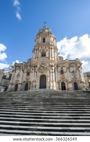 The baroque Saint George cathedral of Modica in the province of Ragusa, Sicily, Italy, Europe  - stock photo