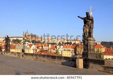 The baroque Statue on Charles Bridge, Prague, Czech Republic - stock photo