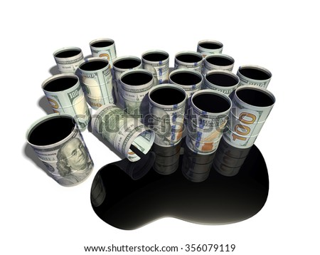 The barrel in the form of a dollar, filled with oil - stock photo