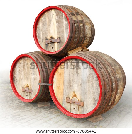 The barrels on a white background. - stock photo