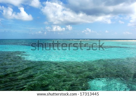 The Barrier Reef in Belize, the second largest in the World. - stock photo