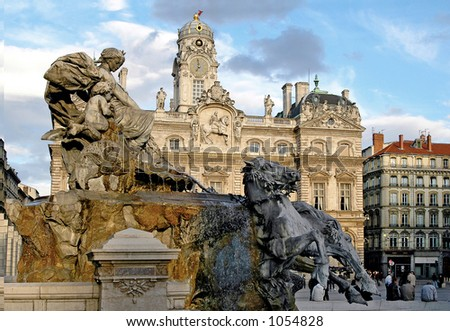 The Bartholdi fountain in Lyon (France) was sculpted in 1889 by Bartholdi (responsible for the Statue of Liberty in New York) - stock photo