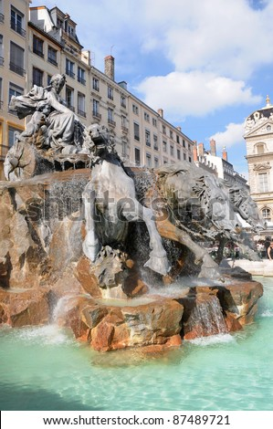 The Bartholdi Fountain on background at the Place des Terreaux in Lyon, France - stock photo