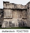 The bas-relief on the ruins of the palace in Chichen Itza, Mexico - stock photo