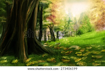 The base of a huge tree, glade. Digital sketch. - stock photo