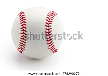The Baseball ball standard hard cork inner size diameter 7.28 CM hand sewing made from leather and weight 130 - 150 grame, isolated on white background. This has clipping path. - stock photo