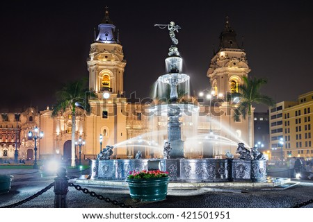 The Basilica Cathedral of Lima at night, it is a Roman Catholic cathedral located in the Plaza Mayor in Lima, Peru - stock photo