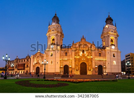 The Basilica Cathedral of Lima at sunset, it is a Roman Catholic cathedral located in the Plaza Mayor in Lima, Peru - stock photo