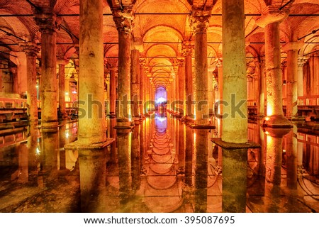 The Basilica Cistern, or Yerebatan Sarayi, is the ancient underground water reservoir beneath Istanbul city, Turkey - stock photo