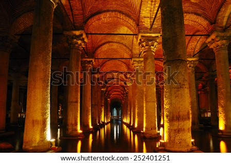 The Basilica Cistern, the largest of ancient water reservoirs, located in Istanbul, Turkey