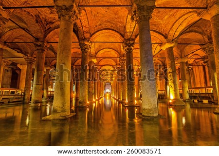 The Basilica Cistern - underground water reservoir build by Emperor Justinianus in 6th century, Istanbul, Turkey - stock photo