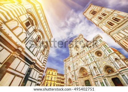 The Basilica di Santa Maria del Fiore (Basilica of Saint Mary of the Flower) and Giotto's Campanile, Florence, Italy