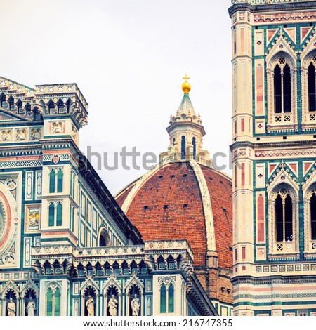 The Basilica di Santa Maria del Fiore (Basilica of Saint Mary of the Flower) in Florence, Italy. Vintage photo.  - stock photo
