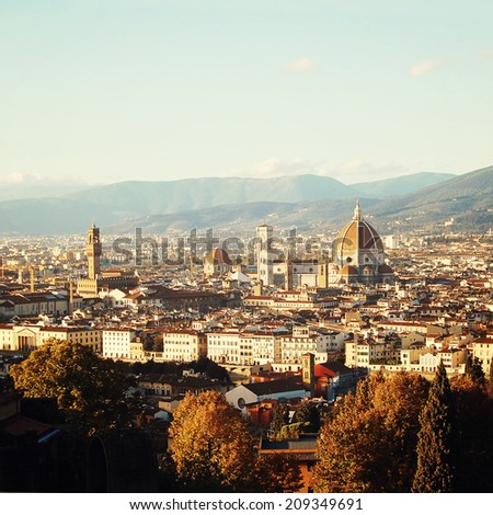 The Basilica di Santa Maria del Fiore - instagram effect. Florence Cathedral - retro photo filter. City view and Firenze Duomo - vintage colors. Florence, Tuscany, Italy. - stock photo