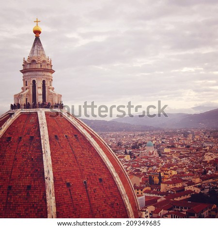 The Basilica di Santa Maria del Fiore - instagram effect. Florence's Cathedral Dome - retro photo filter. City view and Firenze Duomo Cupola - vintage colors. Florence, Tuscany, Italy. - stock photo