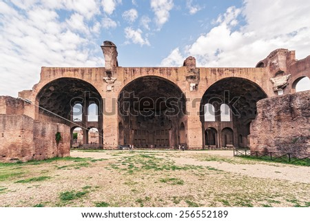 The Basilica of Maxentius and Constantine in the Roman Forum in Rome, Italy - stock photo