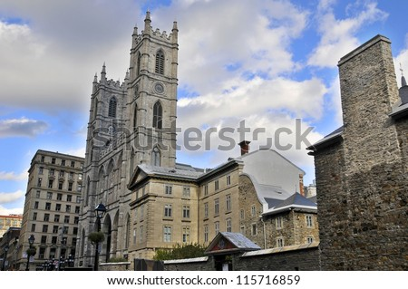 The Basilica of Notre Dame in Vieux-Montreal, Quebec, Canada - stock photo