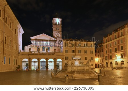 The Basilica of Our Lady in Trastevere Basilica di Santa Maria in Trastevere , a titular minor basilica and one of the oldest Churches of Rome, Italy - stock photo