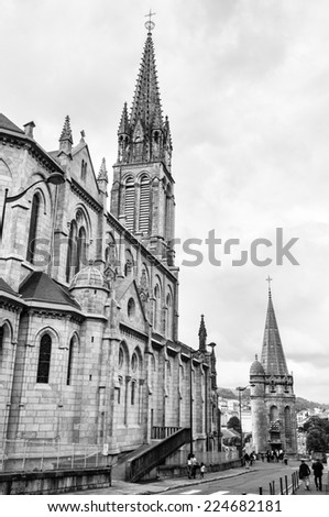 The Basilica of our Lady of the Rosary, designed by architect Leopold Hardy, completed in 1899, consecrated in 1901, of a capacity of 1500 worshipers - stock photo