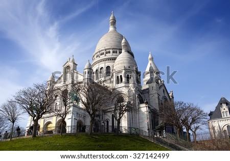 The Basilica of Sacre-Coeur, Montmartre. Paris. - stock photo