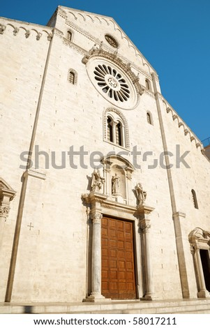 The Basilica of Saint Nicholas, in Romanesque style, in Bari was built where previously was the residence of the Byzantine Governor of Italy. - stock photo