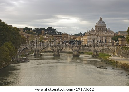 The Basilica of Saint Peter, officially known in Italian as the Basilica di San Pietro in Vaticano and commonly called Saint Peter's Basilica, is one of four major basilicas of Rome - stock photo