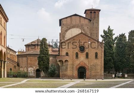 The basilica of Santo Stefano encompasses a complex of religious edifices in the city of Bologna, Italy.  - stock photo