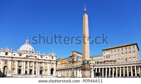 The Basilica of St. Peter is a huge church in the Renaissance style located in Rome. - stock photo