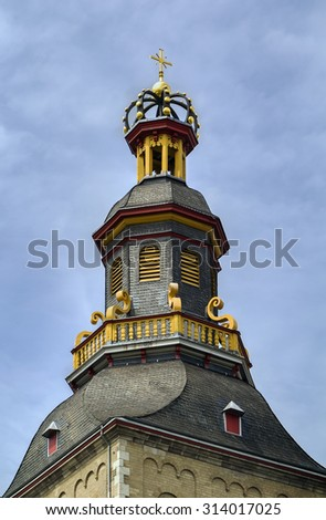The Basilica of St. Ursula is one of the twelve Romanesque churches of Cologne, Germany. Tower - stock photo