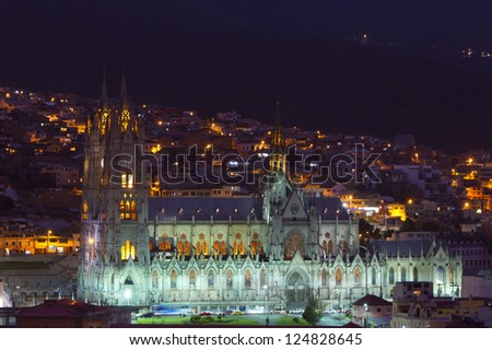 The Basilica of the National is a Roman Catholic church located in the historic center of Quito, Ecuador. - stock photo