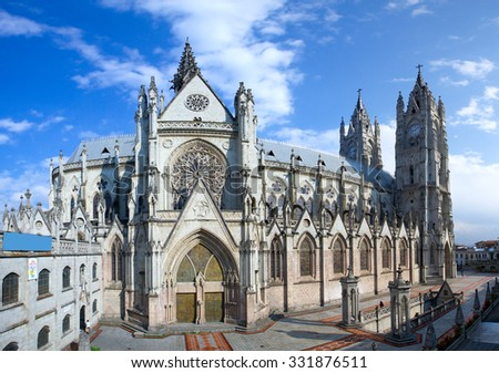 The Basilica Of The National Is A Roman Catholic Church Located In The Historic Center Of Quito Ecuador