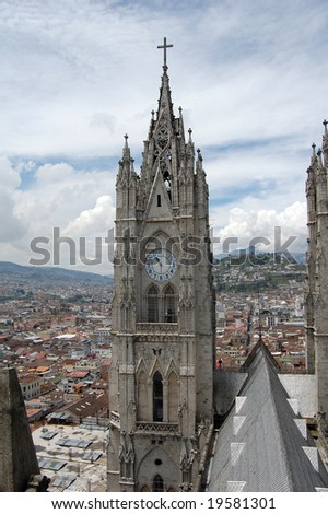 The Basilica of the National Vow is a Roman Catholic church located in Quito, Ecuador. Consecreated in 1988, remains unfinished. The building is noted for its grotesques in the form of native animals. - stock photo