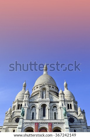 The Basilica of the Sacred Heart of Paris, a Roman Catholic church and minor basilica, located at the summit of the butte Montmartre, the highest point of Paris - stock photo