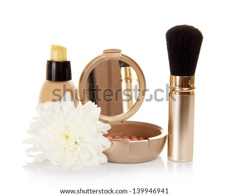 The basis for cosmetics, the blush and the chrysanthemum flower, isolated on white - stock photo