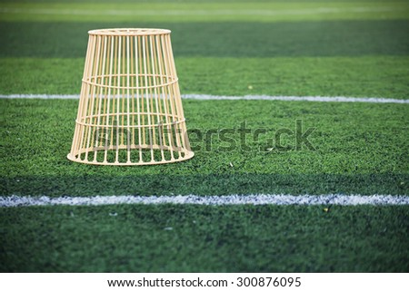 the basket at  artificial Turf Soccer field  - stock photo