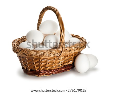 The basket filled with white eggs is isolated on white