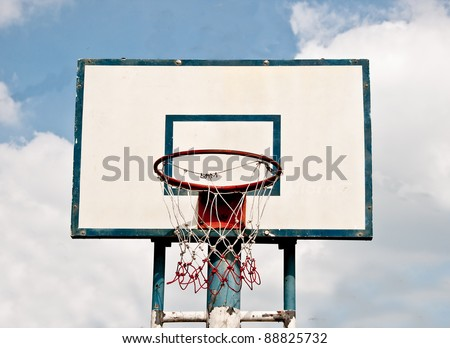 The Basketball court on blue sky background - stock photo