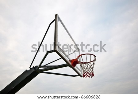 The Basketball court on cloudy background - stock photo