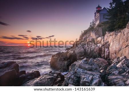 The Bass Harbor Head Light, Acadia National Park, Maine, USA - stock photo