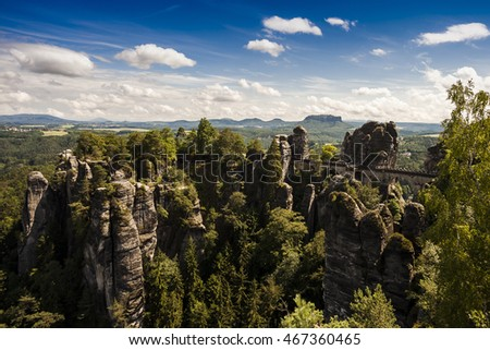 The Bastei bridge in the Elbe Sandstone Mountains in Saxony (Germany)