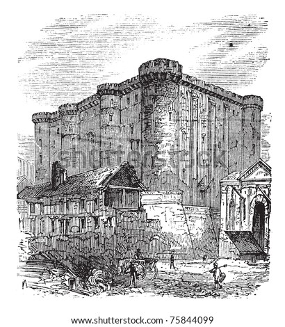 The Bastille or Bastille Saint-Antoine in Paris, France. Vintage engraving. Old engraved illustration of the French fortress-prison in 1890.