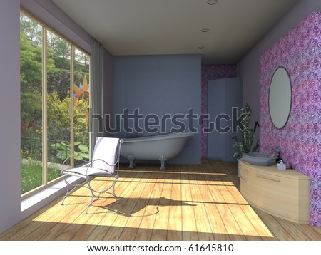 The bathroom in purple with a large window to the garden