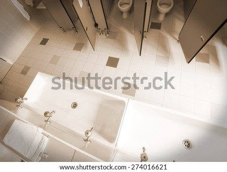 the bathroom nursery school photographed from above with speia effect - stock photo