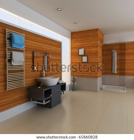 the bathroom with modern style.3d render - stock photo