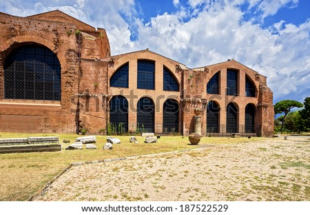 The baths of Diocletian (Termae  Diocletiani) Rome. Italy. - stock photo